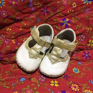 Omn 金蔥真皮手工娃娃鞋