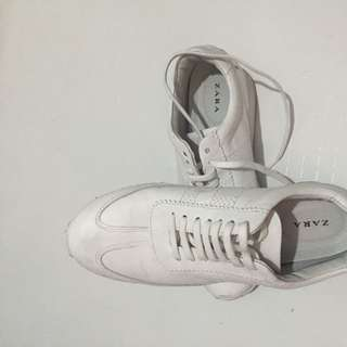 Zara White Leather Sneakers