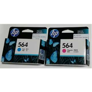 564 HP Ink Cartridges - Magenta (Pink) and Cyan (Blue)