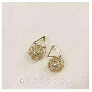 三角金絲簍空珍珠耳環