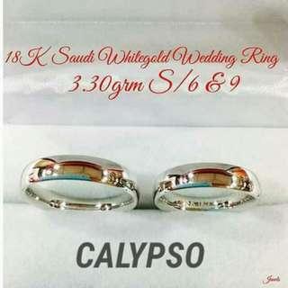 CALYPSO 18K SAUDI WHITEGOLD WEDDING/COUPLE RING