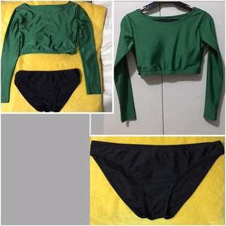 2pc. Midrib-rash guard set (Green/Black)