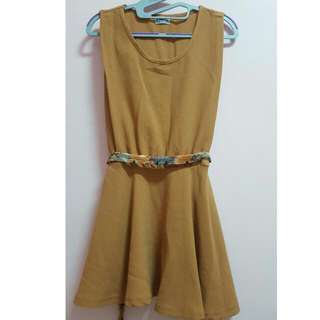褐色 氣質洋裝