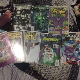 Assorted Comic Books, 9 Pcs. Blackest Night1-2, Doctor Fate1-2, Suicidesquad#15, Harley Quinn#1, Batman#614,batman'66#20, Marvel New Universe Graphic Novel.