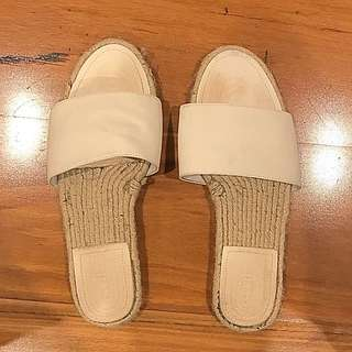 Seed White Slides - Leather & Espadrille