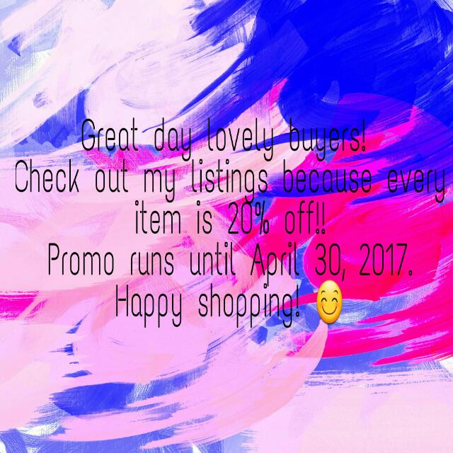 20% off on EVERY item!!