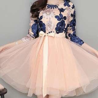韓版優雅花朵刺繡綁帶蝴蝶結連身洋裝