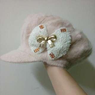 米白貝蕾帽