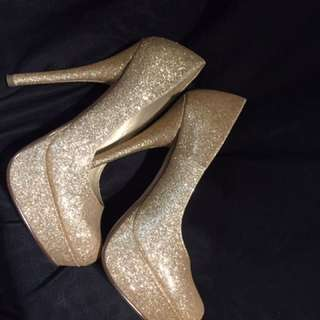 Gold Sparkle Stiletto Heels