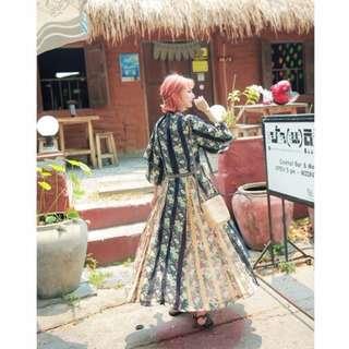👑貝特拉公主-限量日本實拍波西米亞風滿版印花海邊度假洋裝