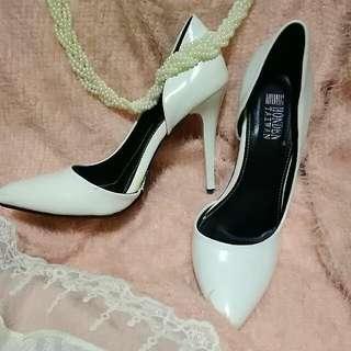 白色 側邊 淺口 高跟鞋