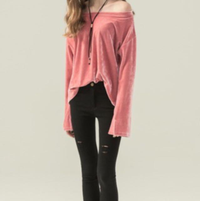 粉色天鵝絨上衣