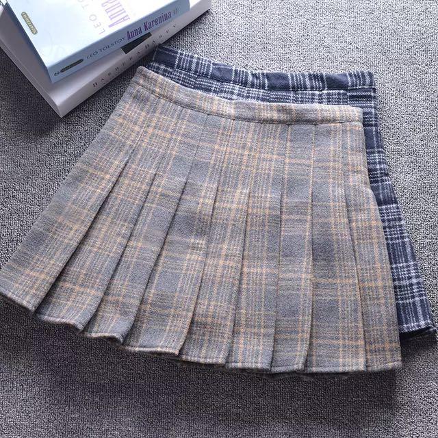 韓國學院冬天針織厚百摺裙短裙