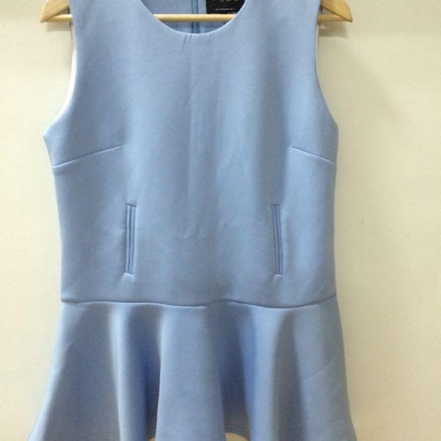 太空棉淺藍洋裝
