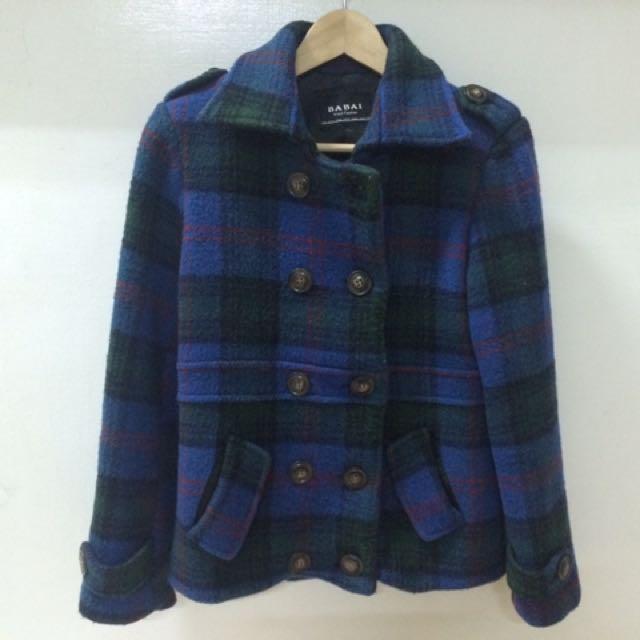 學院風藍色格子外套