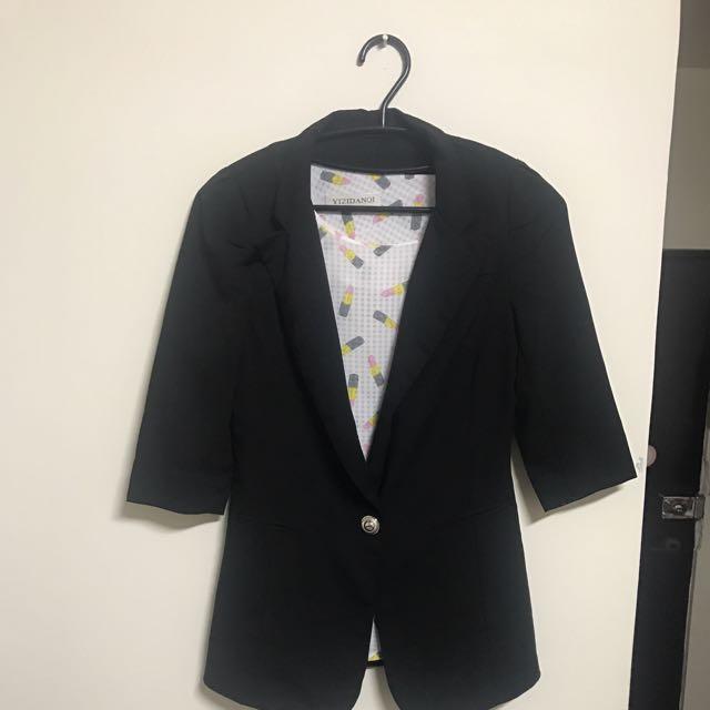 七分袖西裝外套+口紅透視雪紡衫含運