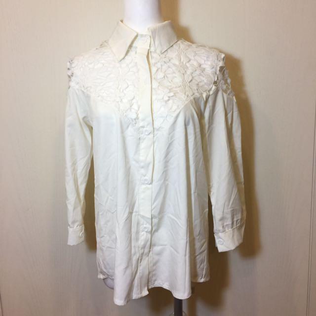 女裝 純白雕花襯衫
