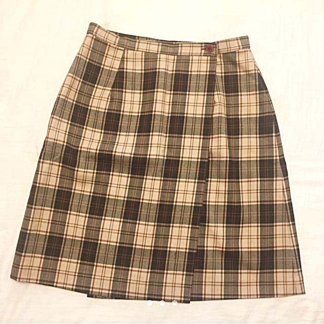 格子 Aline膝上裙 短裙
