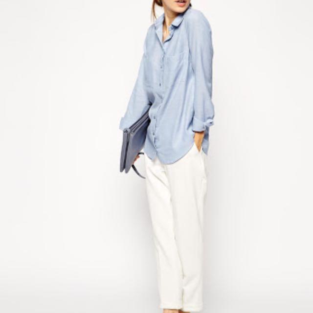 ASOS PETITE Blue Soft Casual Shirt