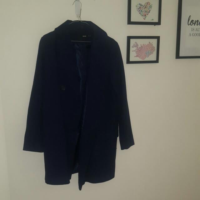 Asos Size 12 Navy Wool Blend Coat