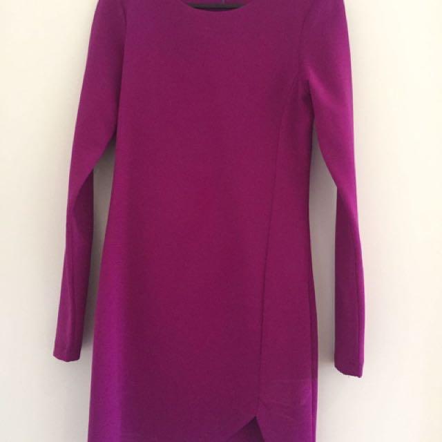 ASTORE Purple Long Sleeve Cocktail Dress