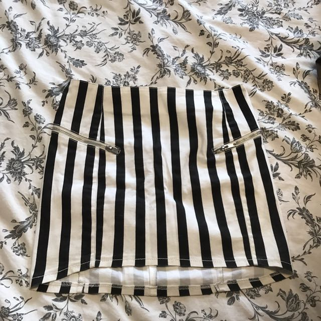 Black And White Striped High Waisted Skirt