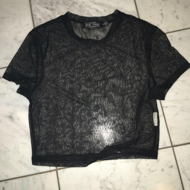 Black Mesh Top Size 8 Unworn