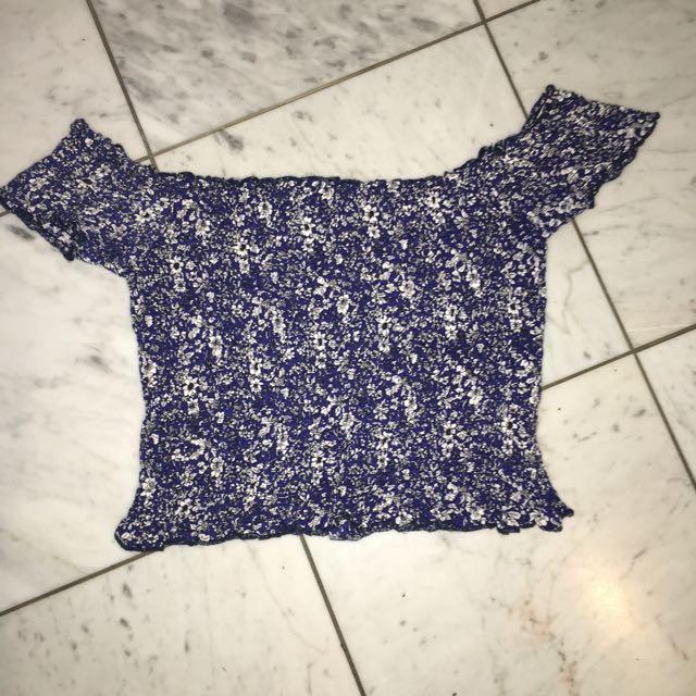 Blue Floral Off The Shoulder Ribbed Top Size 8