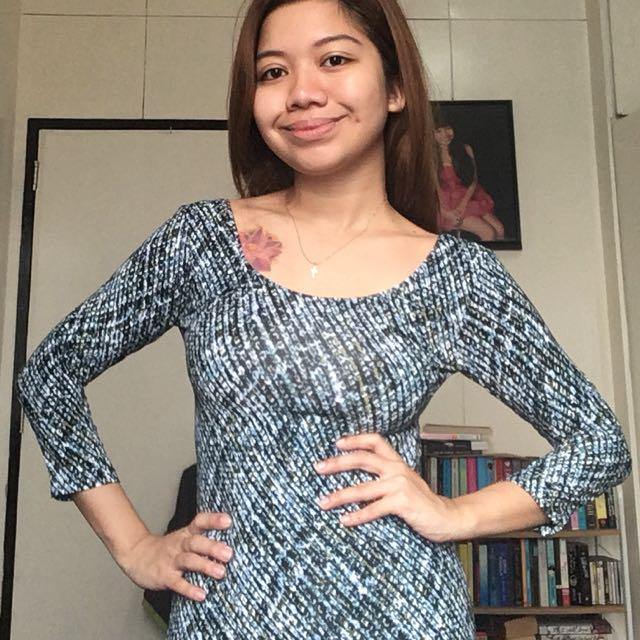 Blue Striped Longsleeved Dress