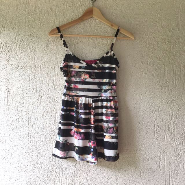 Boohoo Floral Striped Playsuit