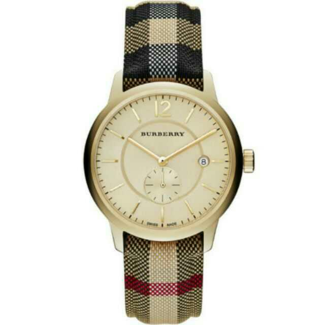 【BURBERRY】The Classic Round 英倫小秒針腕錶-金x格紋  BU10001