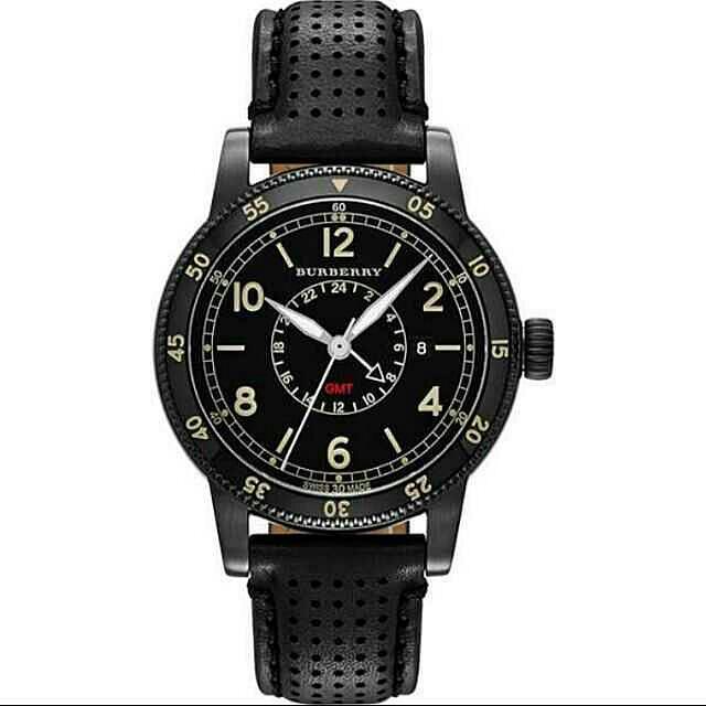 【BURBERRY】Utilitarian 系列GMT 二地時區腕錶-黑框/42mm  BU7867