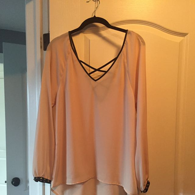 Cream With Black Piping Chiffon Style Top Size S