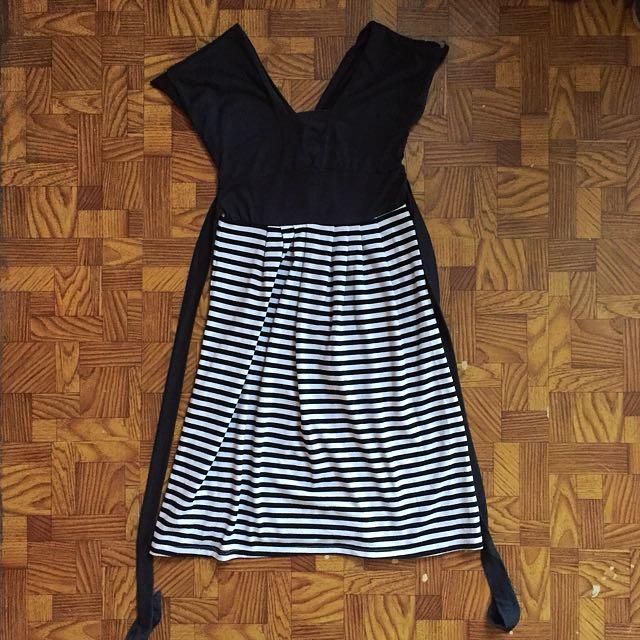 Dark Gray Stripes Dress