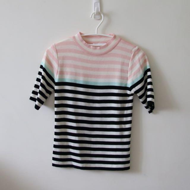 Dobe 粉黑配色條紋針織上衣
