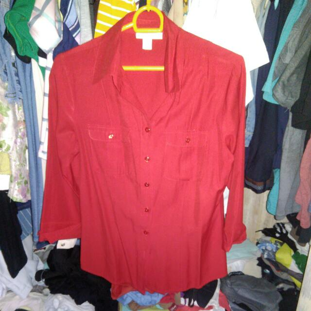 Dress Barn Red Formal Polo