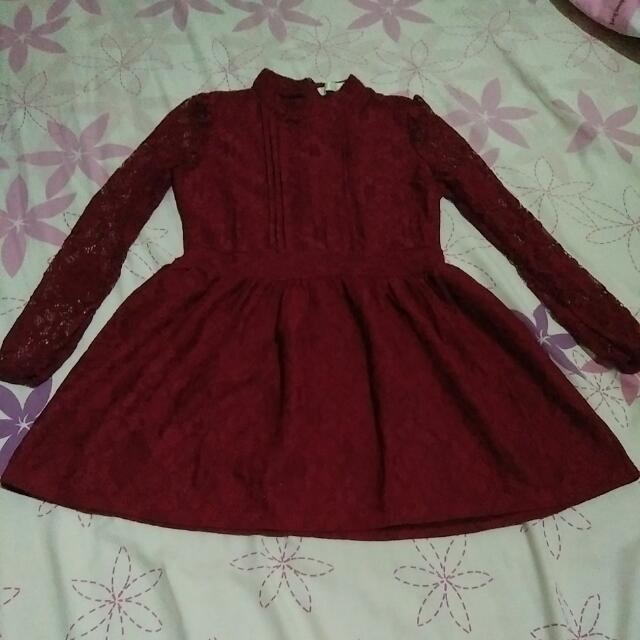 Dress Brokat Maroon