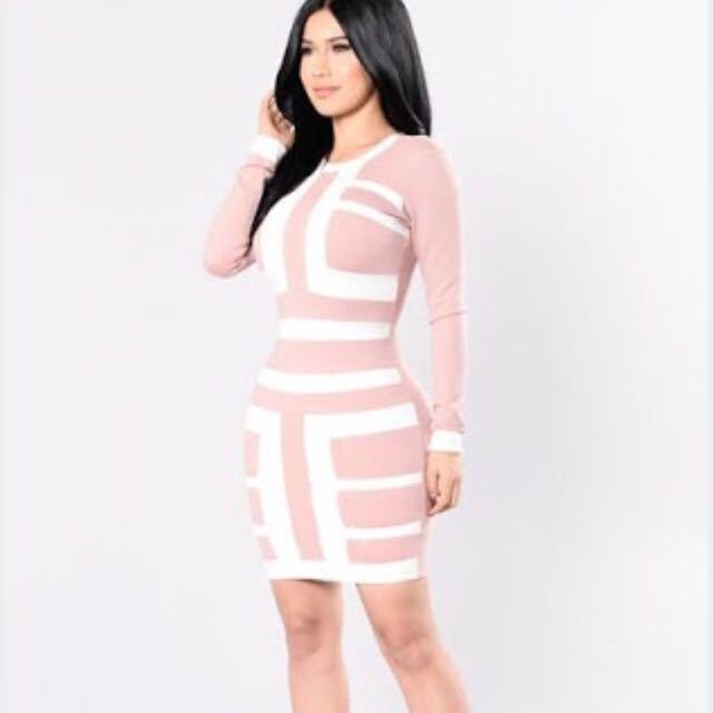 Fashion Nova Pink And White Dress BNWT