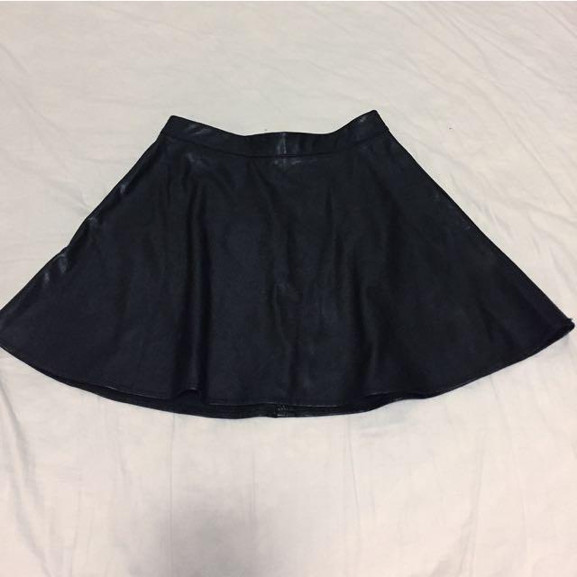 Forever 21 Faux Black Leather Skirt