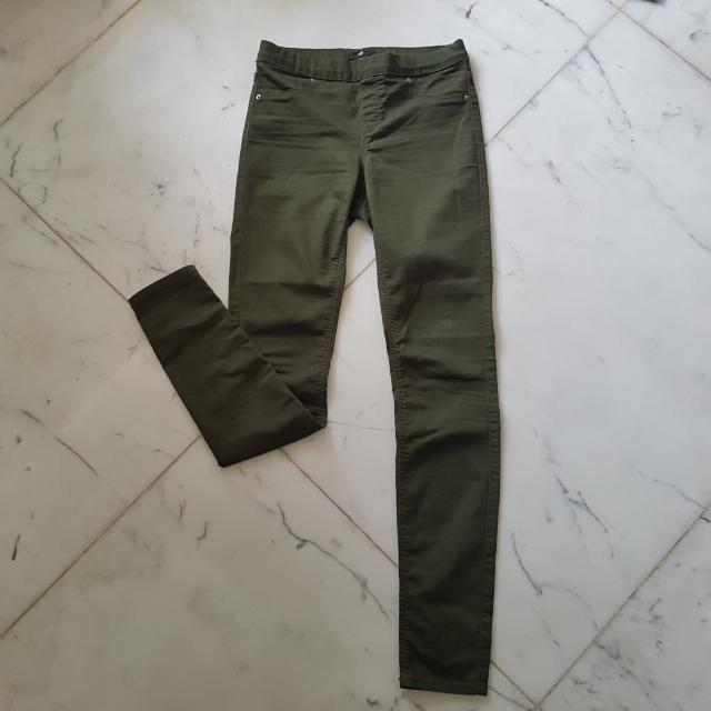 H&M Stretch Jeans In Army Green