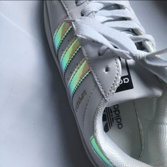 3942328872c7 HOLOGRAPHIC ADIDAS SUPERSTAR WHITE SCHOOL SHOES SHOE SNEAKERS TUMBLR ...