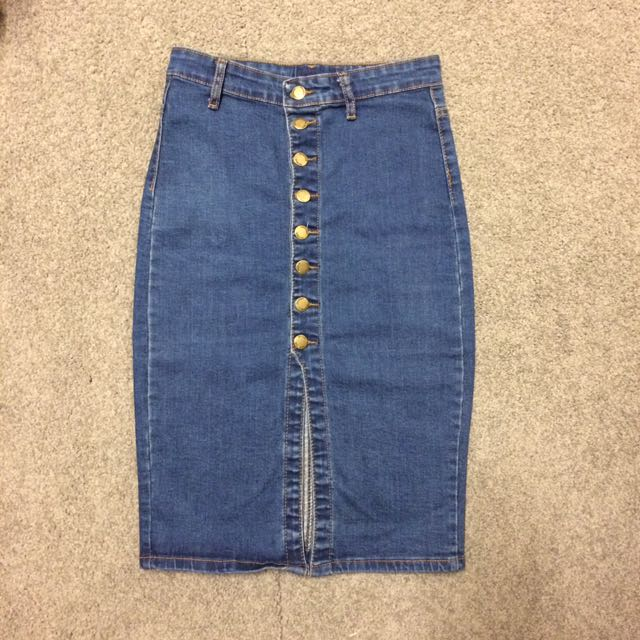 jean skirt with slit