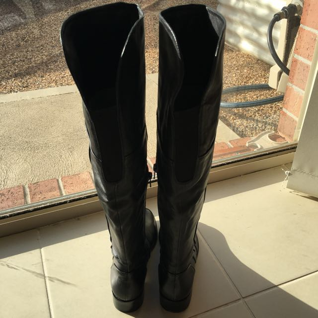 JM ANGELICA Real Leather Long Black Boots