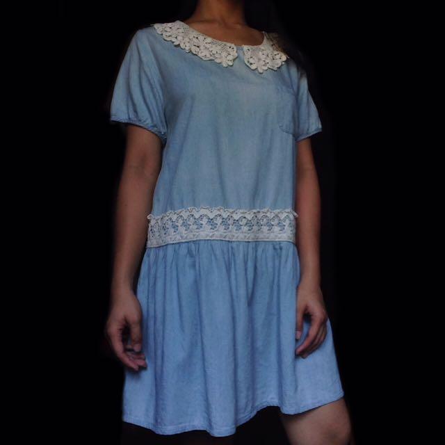 Light Denim Dress w/ Crochet