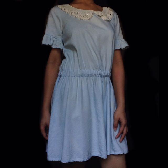 Light Denim Dress w/ Crochet & Back Buttons