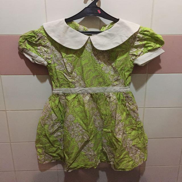 Lime Green Batik Baloon Dress