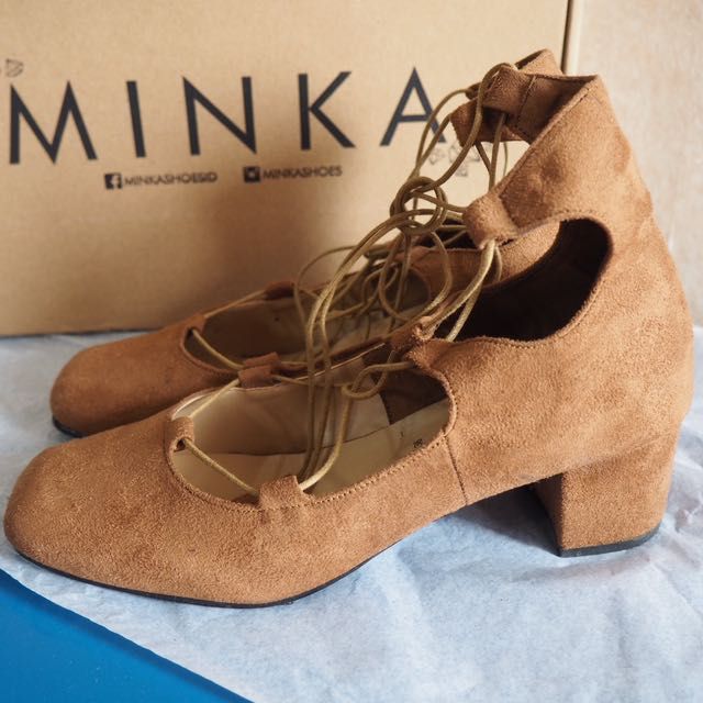 Marion Brown Lace Up Heels by MINKA SHOES