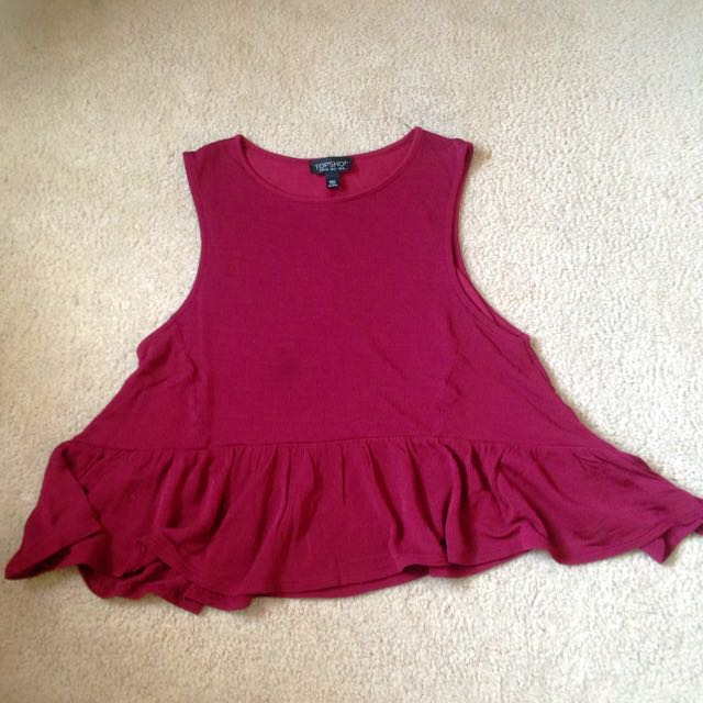 Maroon Topshop Cropped Peplum Blouse