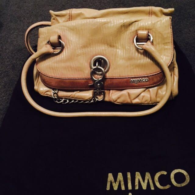 Mimco Cream And Brown Handbag