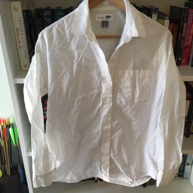 Old Navy Boyfriend White Collared Shirt Blouse